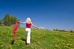 Junge Frau mit einem roten Schal auf einer Wiese Stockfotografie