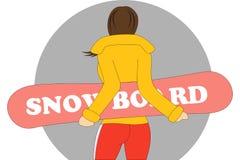 Junge Frau mit einem Snowboard, hintere Ansicht stockbilder