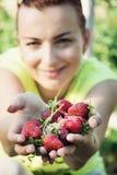 Junge Frau mit einer Handvoll frischen Erdbeeren Stockfotos