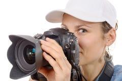 Junge Frau mit einer Kamera Jugendlebensstil Lizenzfreie Stockbilder