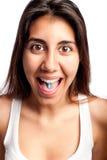 Junge Frau mit einer Pille stockfotos