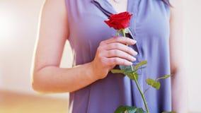 Junge Frau mit einer roten Rose in ihrer rechten Hand Stockbild