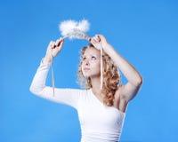 Junge Frau mit einer Schablone Stockfoto