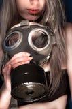 Junge Frau mit einer Schablone Stockfotos