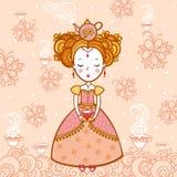 Junge Frau mit einer Tasse Tee und Teekanne lizenzfreie abbildung