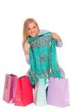 Junge Frau mit Einkaufenbeuteln Stockfotos