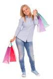 Junge Frau mit Einkaufenbeuteln Stockfotografie