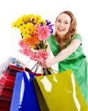 Junge Frau mit Einkaufstasche. Lizenzfreie Stockbilder