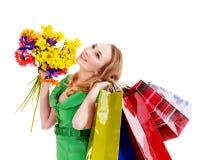 Junge Frau mit Einkaufstasche. Stockbilder