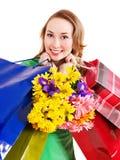 Junge Frau mit Einkaufstasche. Lizenzfreies Stockbild