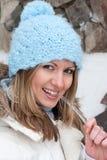 Junge Frau mit Eiszapfen Stockbilder