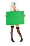 Junge Frau mit Fahne Lizenzfreie Stockfotografie