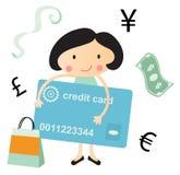 Junge Frau mit Finanzsymbolen Lizenzfreies Stockfoto