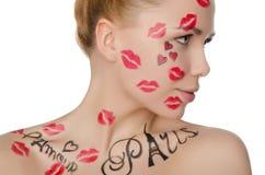 Junge Frau mit Gesichtskunst auf Thema von Frankreich Stockfotografie