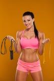 Junge Frau, mit gesunder sportlicher Abbildung mit Stockbild