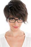 Junge Frau mit Gläsern Lizenzfreie Stockbilder