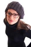 Junge Frau mit Gläsern Stockfotos