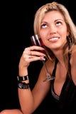 Junge Frau mit Glas Wein Lizenzfreies Stockfoto