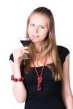 Junge Frau mit Glas Wein Stockfotografie