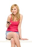 Junge Frau mit Handy Lizenzfreies Stockfoto