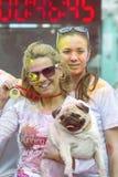 Junge Frau mit Hund auf der Farbe, die 4 laufen lässt Stockfotografie