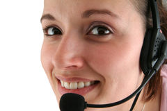 Junge Frau mit Kopfhörer Stockfotos