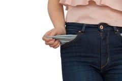 Junge Frau mit leeren Taschen Lizenzfreies Stockbild