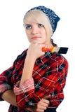 Junge Frau mit Malerpinsel Stockfotografie