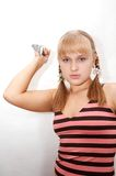 Junge Frau mit Messer Stockfotos