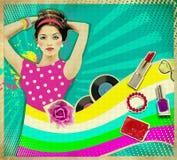 Junge Frau mit Mode-Accessoires auf Retro- Plakathintergrund Lizenzfreies Stockbild