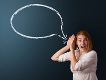 Junge Frau mit moderner Spracheblase Lizenzfreie Stockfotos