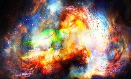 Junge Frau mit Papageien im kosmischen Raum Stockfoto