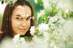 Junge Frau mit sauberer Haut nahe einem blühenden Apfelbaum leichtes Porträt des Parks des Mädchens im Frühjahr Stockbild