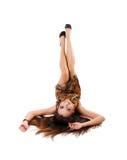 Junge Frau mit schöne Fahrwerkbeine Stockfoto