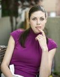 Junge Frau mit schönen blauen Augen stockfoto
