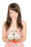 Junge Frau mit Schuhen Lizenzfreies Stockfoto