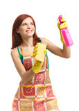 Junge Frau mit Sprayflasche und -schwamm Lizenzfreie Stockfotos