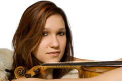 Junge Frau mit Violine stockbild