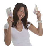 Junge Frau mit Währung Stockfoto
