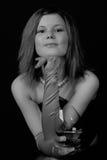Junge Frau mit Weinglas Lizenzfreies Stockfoto