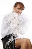 Junge Frau mit zerrissenem Papier Stockbilder
