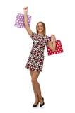 Junge Frau nach dem Einkauf Lizenzfreie Stockfotos