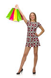 Junge Frau nach dem Einkauf Lizenzfreie Stockfotografie