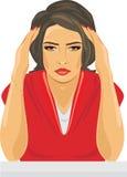 Junge Frau niedergedrückt und Schreien Stockbild