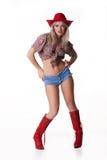 Junge Frau in Red Hat Stockbild