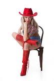 Junge Frau in Red Hat stockbilder