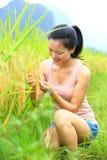 Junge Frau am Reisfeld Lizenzfreies Stockbild