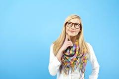 Junge Frau schauen oben Lizenzfreies Stockfoto