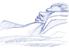 Junge Frau schläft skizze lizenzfreie abbildung