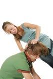 Junge Frau schlug ihren Freund Stockbild